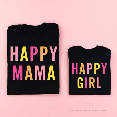 HAPPY MAMA / GIRL | Set of 2 Black Shirts