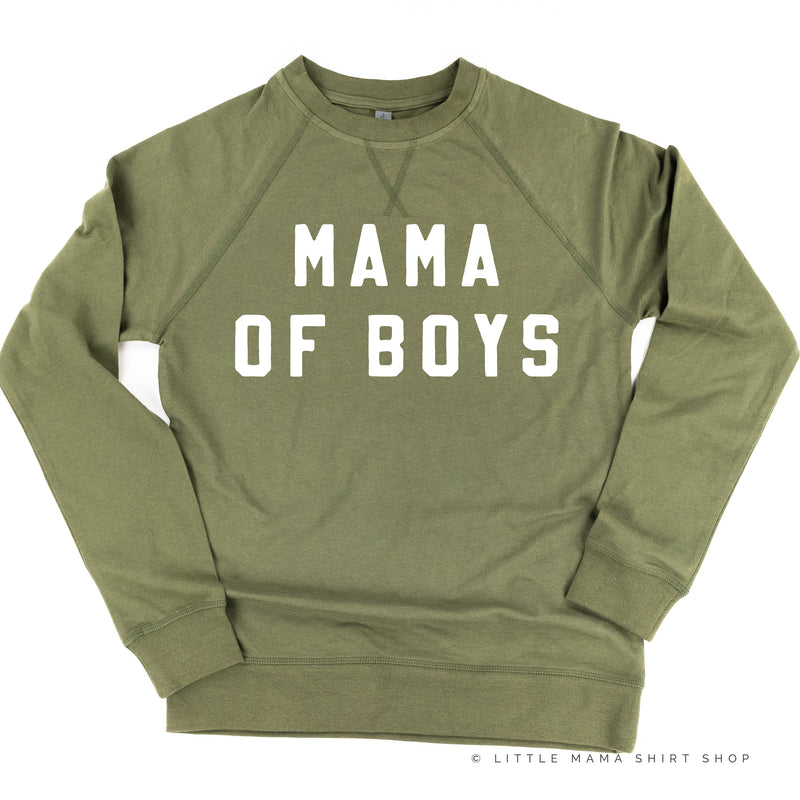 MAMA OF BOYS - (Block Font) - Lightweight Pullover Sweater