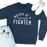 Mother of a Tiny and Mighty Fighter (Singular) - Lightweight Pullover Sweater