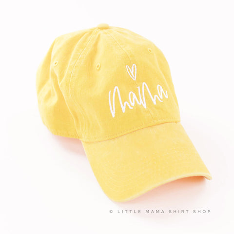 Mama ♥ (above) - Sunshine Yellow Baseball Cap
