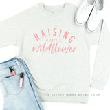 Raising A Little Wildflower - Lightweight Pullover Sweater (Pink Lettering)