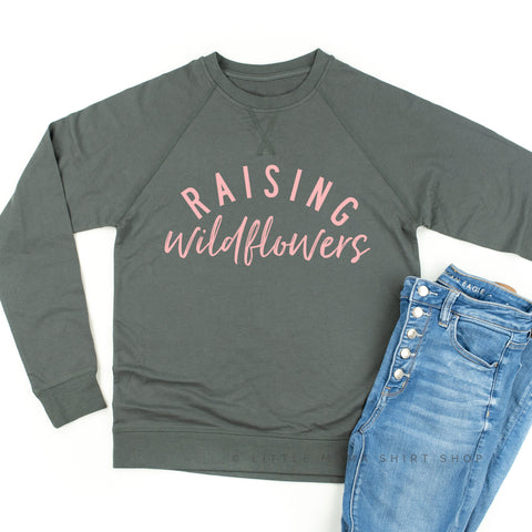 Raising Wildflowers - Lightweight Pullover Sweater (Pink Lettering)