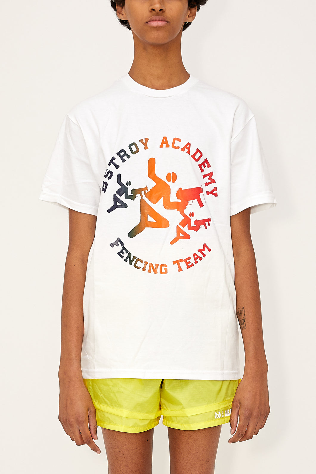 Gradient Fencing Tee (White/Blue/Red)