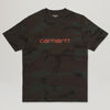 Carhartt WIP S/S Script Tee (Camo Evergreen/Brick Orange)