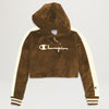 Champion Corduroy Cropped Hoodie (Brown Sepia)