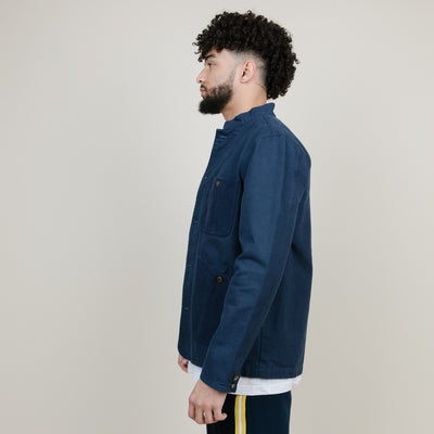 10 Deep Stand Collared Canvas Barn Jacket (Navy)