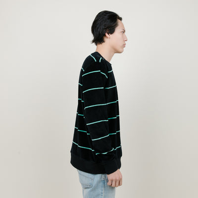 Stussy Striped Velour Crew (Black)