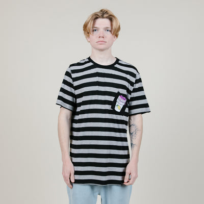 The Hideout Clothing Lean Pocket Tee (Grey/Black Stripe)
