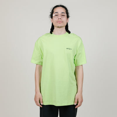 Carhartt WIP S/S Script Embroidery Tee (Lime)