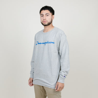 Champion Patriotic Script L/S Tee (Oxford Gray)