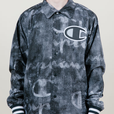 Champion Satin Coaches Jacket Rib Cuff-Print (Black/Grey)