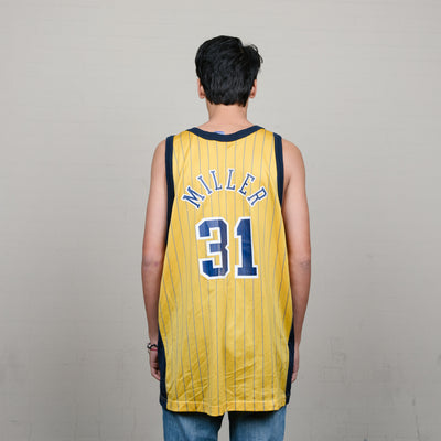 Vintage Champion Pacers Miller Jersey (Navy/Yellow)