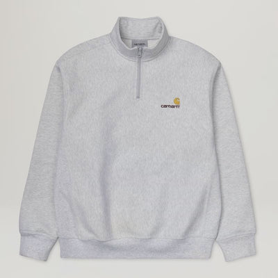 Carhartt WIP Half Zip American Script Sweat (Ash Heather/Gold