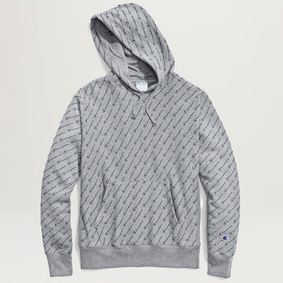Champion Reverse Weave Allover Hoodie (Diagonal Script Grey)