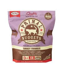 Primal Raw Turkey Nugget Cat 3lb