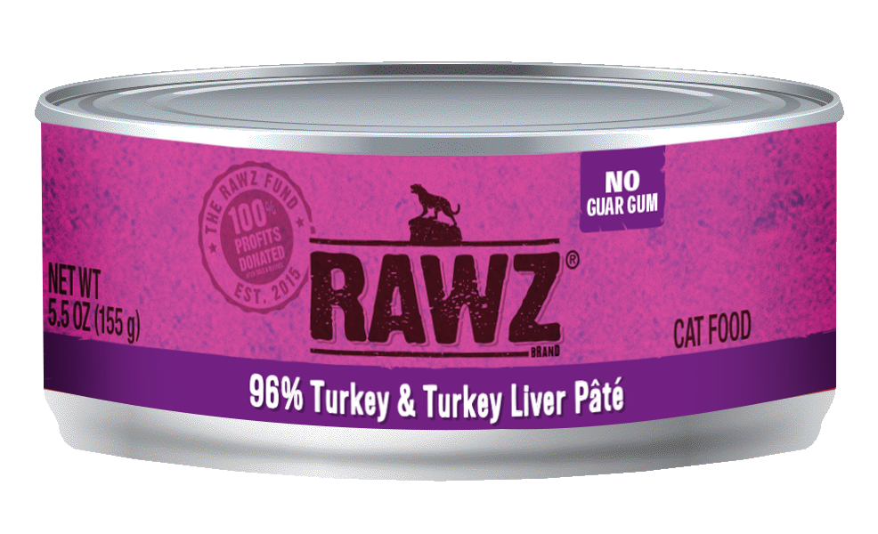 Rawz Cat Cans 96% Turkey & Liver 5.5oz