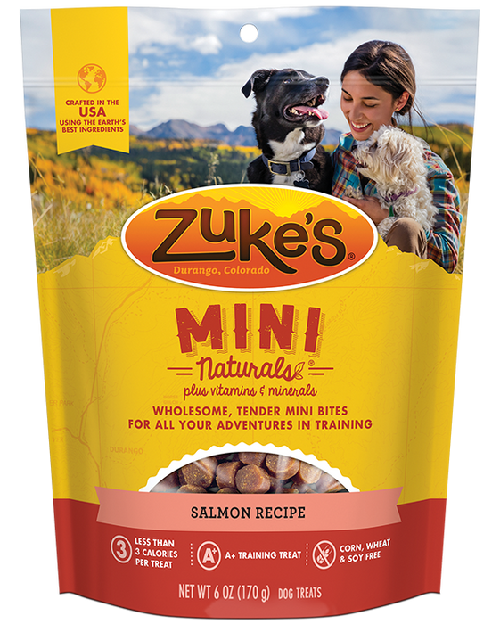 Zukes Mini Natural Savory Salmon Dog 6z