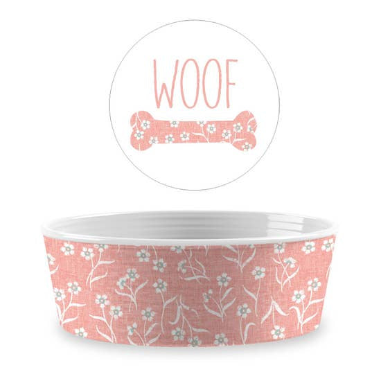 Tarhong Flower Fields Single Wall Pet Bowl Blush