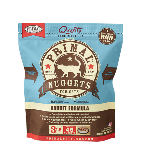 Primal Raw Rabbit Nugget Cat 3lb