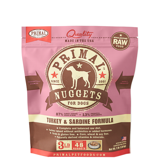 Primal Raw Turkey Sardine Nuggets Dog 3lb