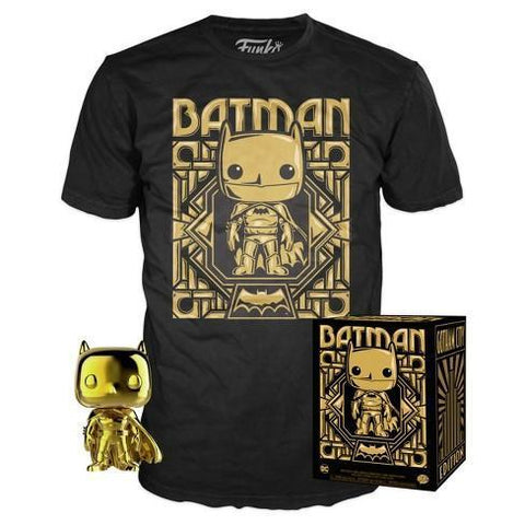 Gold Chrome Batman Pop! and Tee Target Exclusive Funko Collectors Box-The Nerdy Byrd