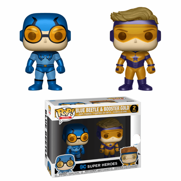 Metallic Blue Beetle & Booster Gold 2-Pack Exclusive Funko Pop! Vinyl-The Nerdy Byrd