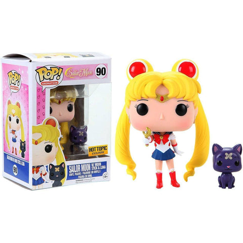 Sailor Moon with Moon Stick & Luna Hot Topic Exclusive Funko Pop! Vinyl-The Nerdy Byrd