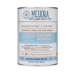 Meliora powdered laundry container with eco safe ingredients listed on the front
