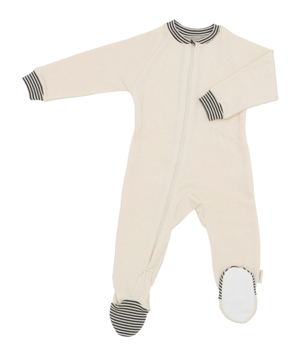 Natural colored Footie with charcoal grey and natural striped trim on wrist cuffs, neckband and toe box. Zipper in natural. CastleWare label in lower side outer side seam of leg.
