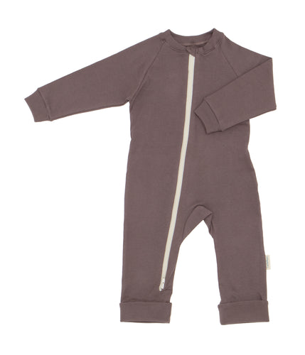 flat image of mushroom colored romper with natural colored zipper in center front