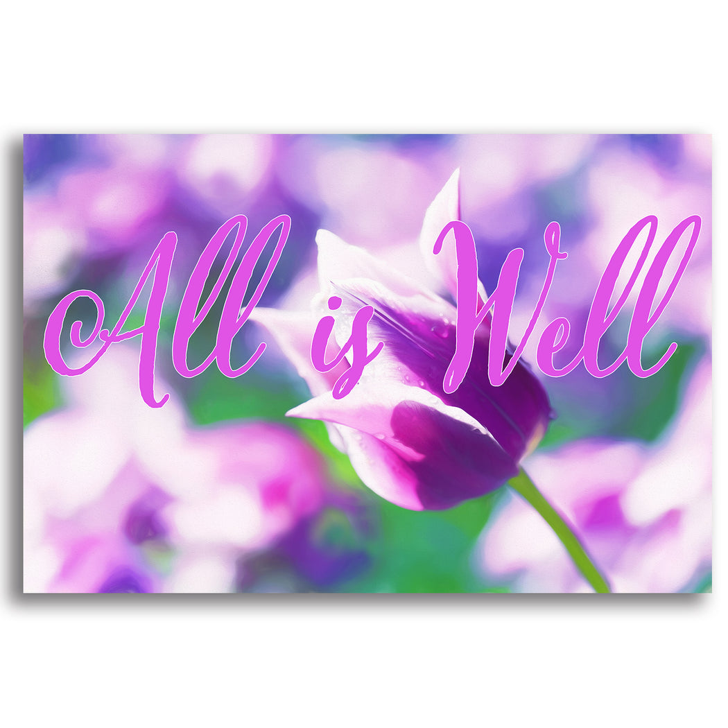 "Floral Canvas Wall Art ""All is Well #4"" - Stretched On Wood Frame, Ready To Hang!"