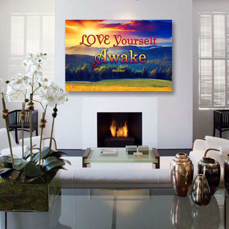 "Matt Kahn Inspirational Canvas Wall Art - ""Love Yourself Awake"" - Stretched On Wood Frame, Ready To Hang!"