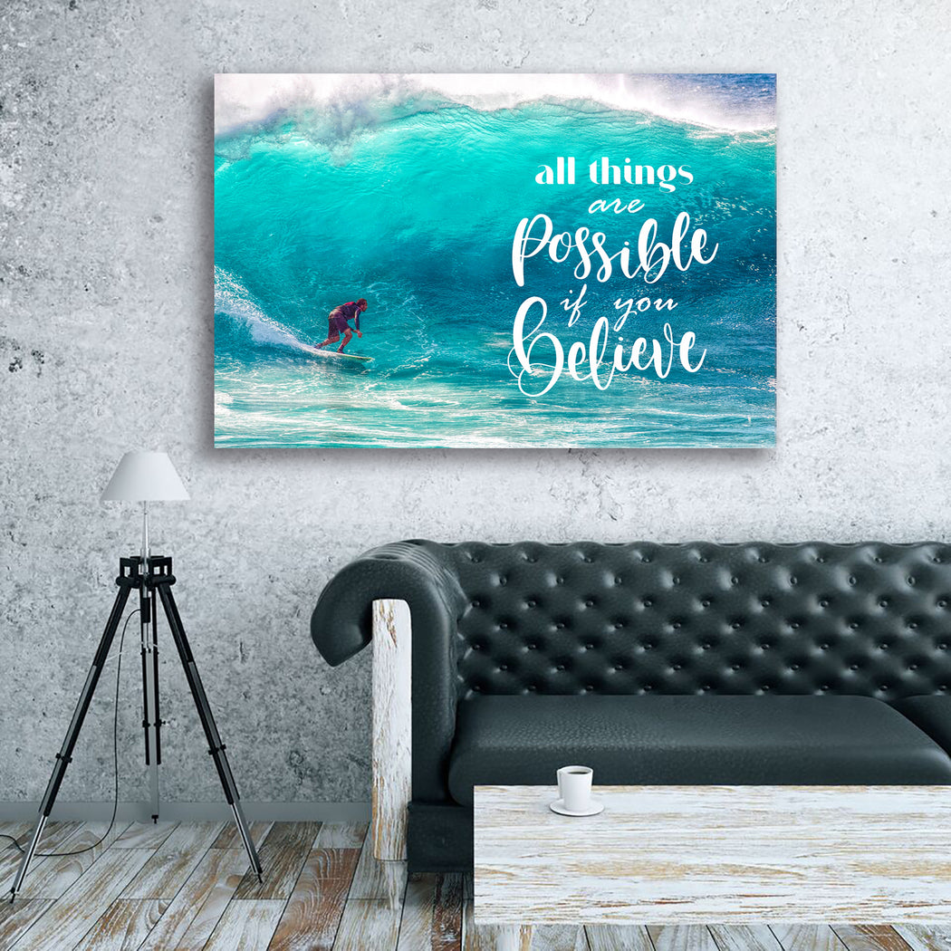 "Inspirational Canvas Wall Art ""The Surfer""- Stretched On Wood Frame, Ready To Hang!"