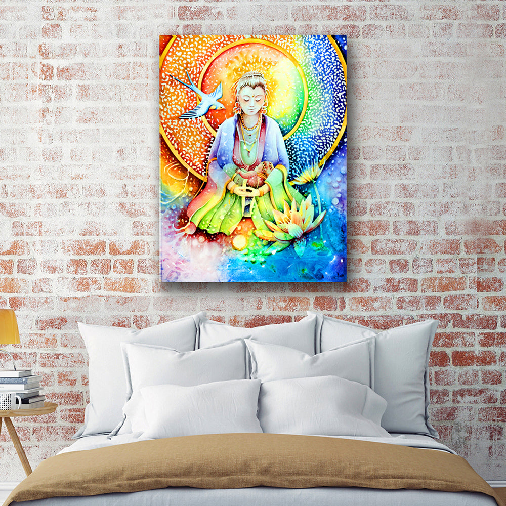 "Buddha's Mother Canvas Wall Art ""Everything You Need"" - Stretched On Wood Frame, Ready To Hang!"