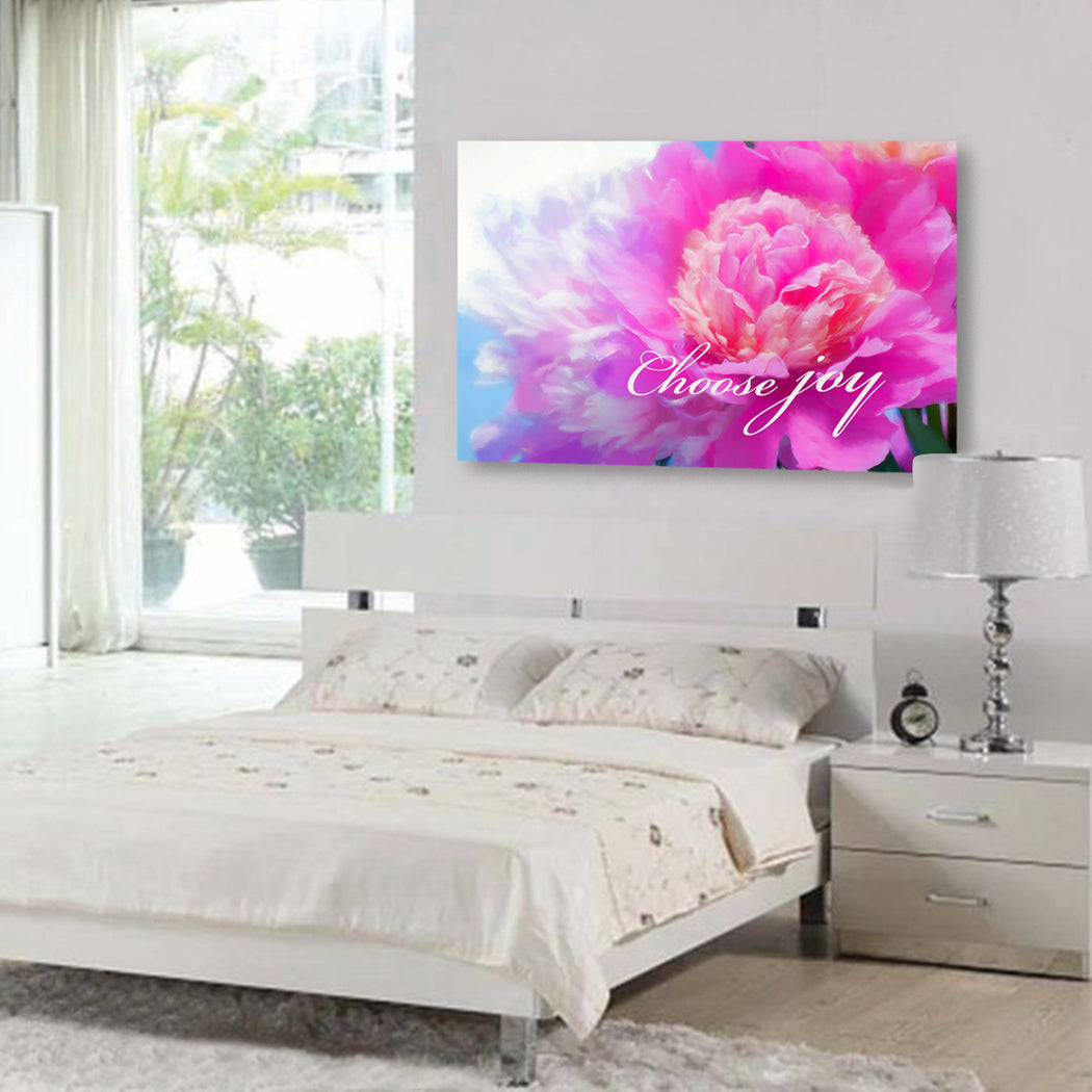 "Floral Canvas Wall Art ""Choose Joy"" - Stretched On Wood Frame, Ready To Hang!"