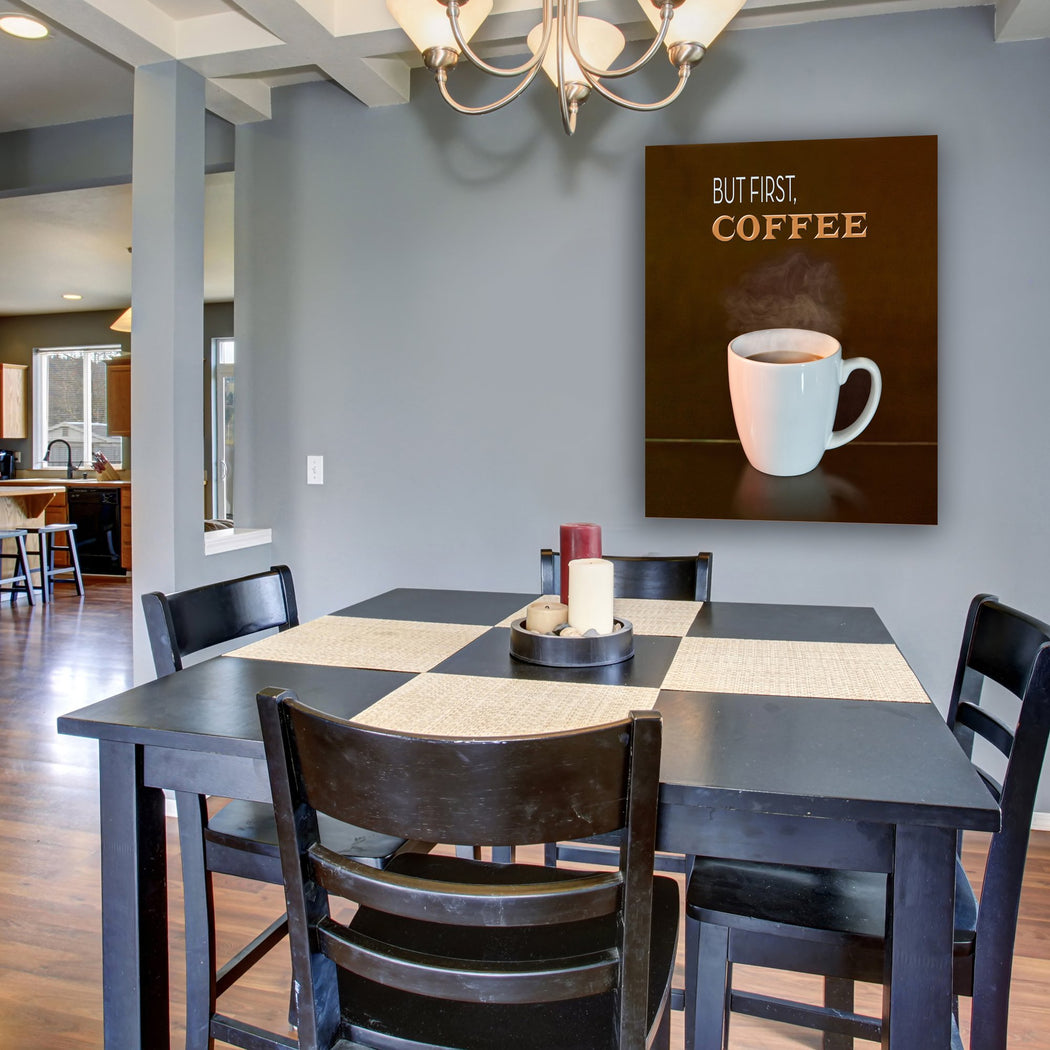 "Coffee Canvas Wall Art ""But First Coffee"" - Stretched On Wood Frame, Ready To Hang!"