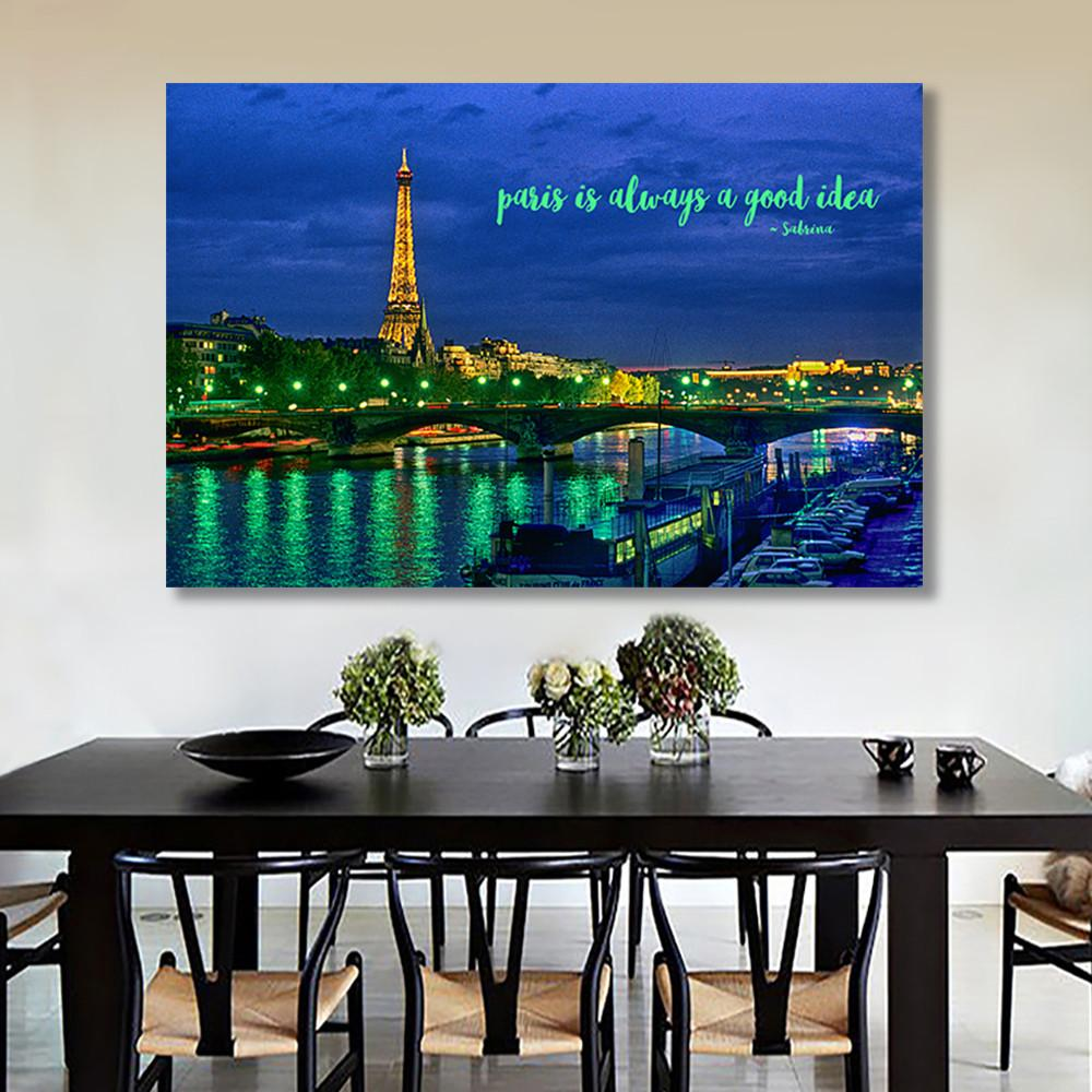 "Paris Landscape Canvas Wall Art ""always a good idea"" - Stretched On Wood Frame, Ready To Hang!"