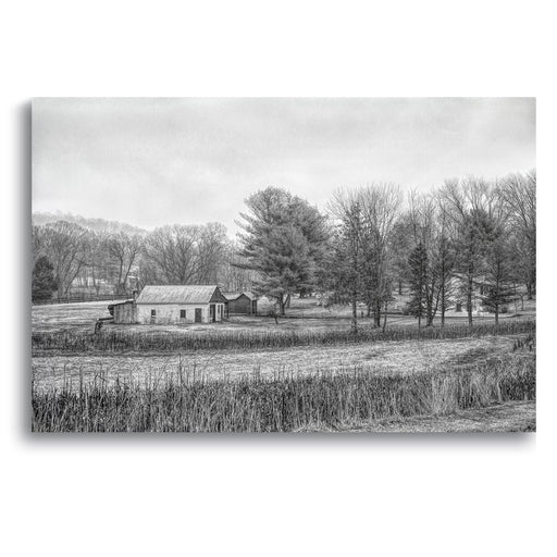 Farmhouse Landscape Canvas Wall Art - Stretched On Wood Frame, Ready To Hang!