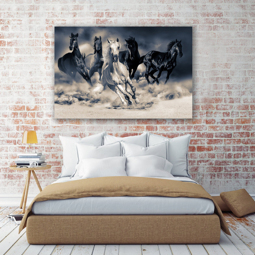"Horse Canvas Wall Art - Duo-Tone ""Run at Life"" - Stretched On Wood Frame, Ready To Hang!"