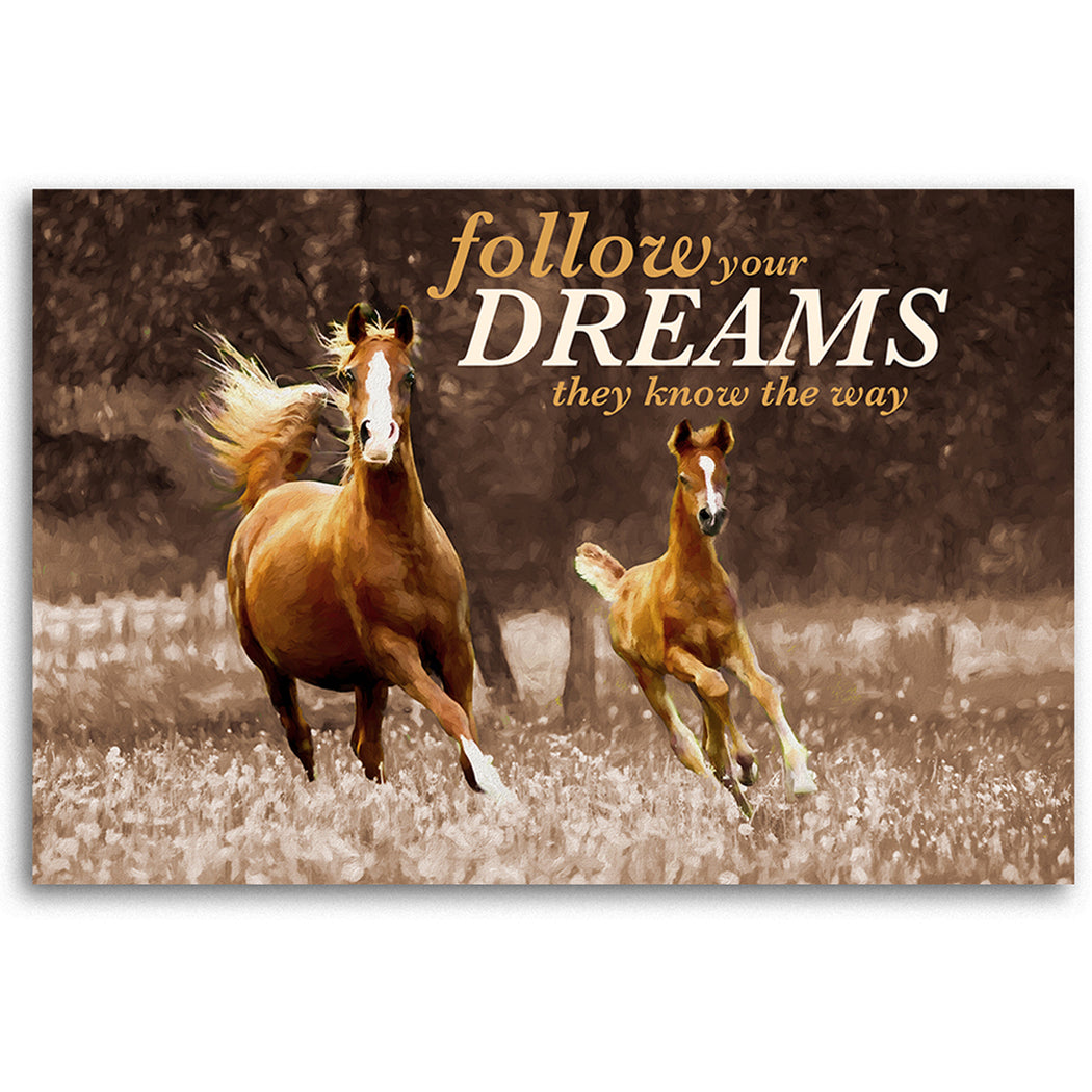 "Horse Canvas Wall Art ""Follow Your Dreams"" - Stretched On Wood Frame, Ready To Hang!"