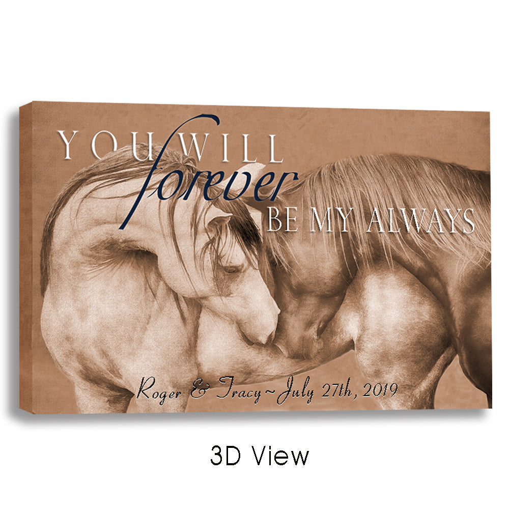 Horse Canvas Art - Forever Always - Custom