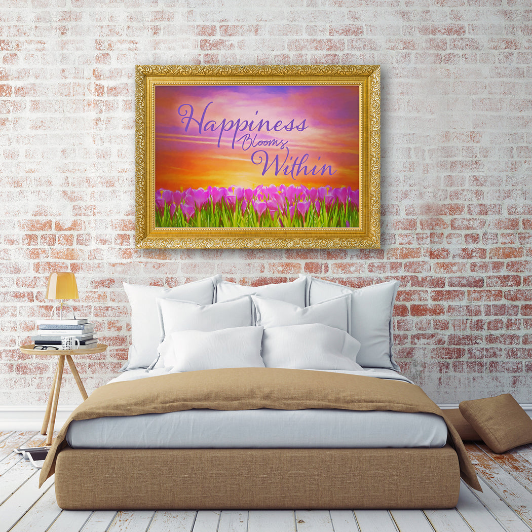 "Floral Landscape Canvas Wall Art ""Happiness"" - Stretched On Wood Frame, Ready To Hang!"