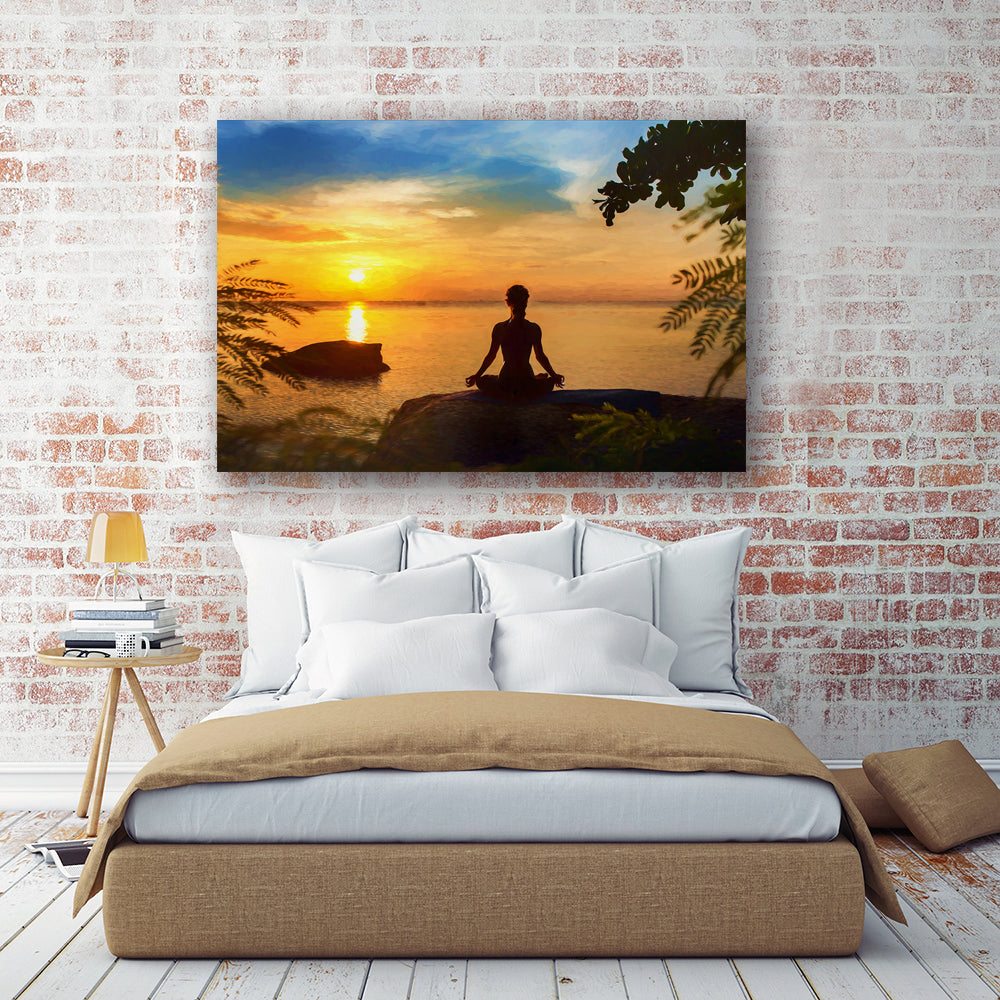 "Yoga Seascape Canvas Wall Art ""Just Breathe"" - Stretched On Wood Frame, Ready To Hang!"