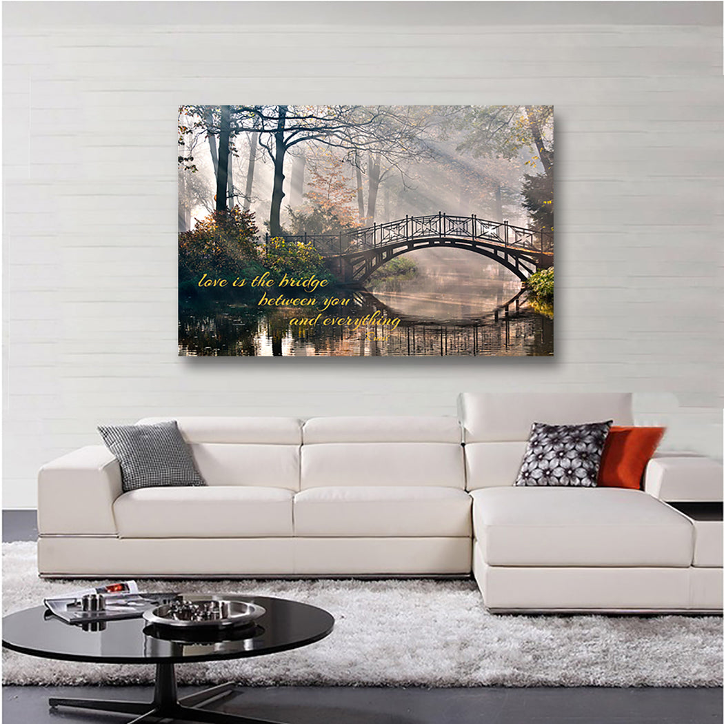 "Rumi Landscape Canvas Wall Art ""Love is the Bridge"" - Stretched On Wood Frame, Ready To Hang!"