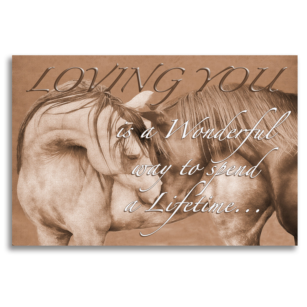 "Horse Canvas Wall Art ""Loving You"" (Sepia) - Stretched On Wood Frame, Ready To Hang!"