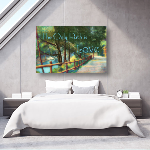 "Landscape Canvas Wall Art ""The Only Path Is Love"" - Stretched On Wood, Ready To Hang!"