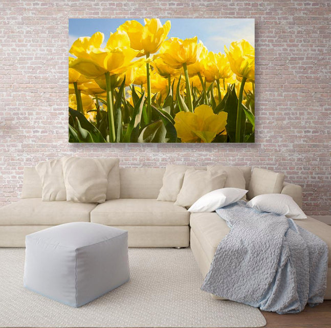 Yellow Tulips Canvas Print Wall Art - Stretched On Wood Frame