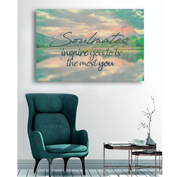 "Romantic Canvas Wall Art ""Soulmates Inspire"" - Stretched On Wood Frame, Ready To Hang!"