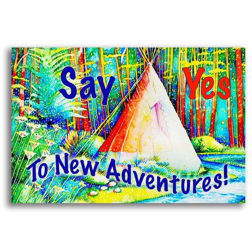 "Teepee Landscape Canvas Wall Art ""Say Yes"" - Stretched On Wood Frame, Ready To Hang!"