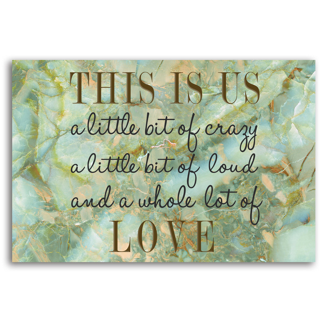 "Canvas Print Family Wall Art ""This is Us"" Marble Background - Stretched On Wood Frame."